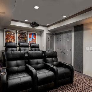 Idéer för att renovera en stor funkis källare utan ingång, med grå väggar