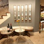Rustic Office Reception Area Contemporary Basement
