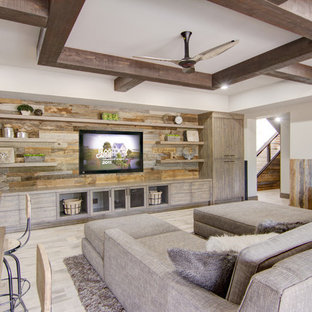 Inspiration for a mid-sized rustic look-out light wood floor and beige floor basement remodel in Phoenix with beige walls and no fireplace