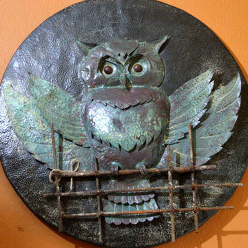 copper owl  sculpture and  relief art