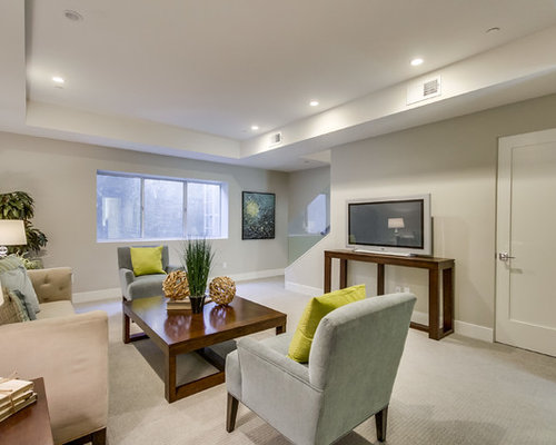 example of a trendy basement design in san diego