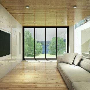 Inspiration pour un sous-sol design donnant sur l'extérieur et de taille moyenne avec un mur blanc et un sol en bois clair.