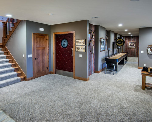 Bon Basement   Craftsman Walk Out Carpeted Basement Idea In Omaha With Gray  Walls