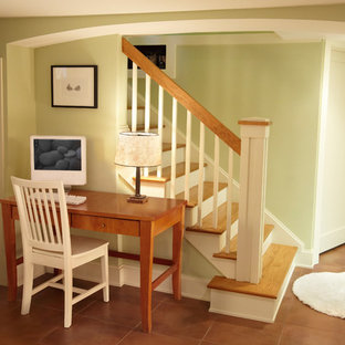 Inspiration for a small arts and crafts fully buried basement in Minneapolis with beige walls and ceramic floors.