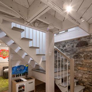 Idée de décoration pour un sous-sol vintage.
