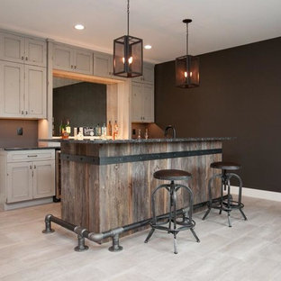 Small urban look-out ceramic floor and gray floor basement photo in Cedar Rapids with black walls and no fireplace