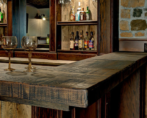 Reclaimed wood bar tops ideas pictures remodel and decor - Rustic basement bar designs ...