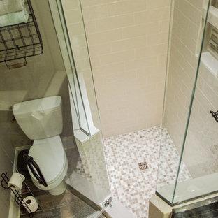 Cette image montre un sous-sol traditionnel de taille moyenne avec un mur gris, un sol en bois clair et aucune cheminée.