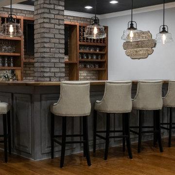 Dark Ceiling with Live Edge Basement Bar