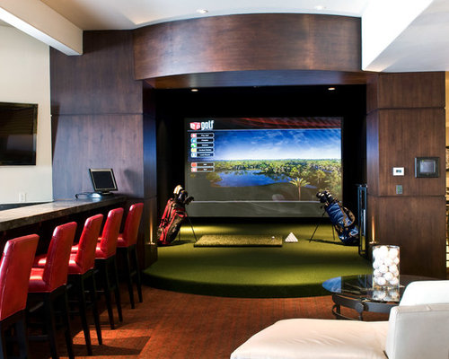 Golf simulation room houzz for Interior design simulator