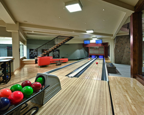 Residential bowling alley home design ideas pictures for House plans with bowling alley