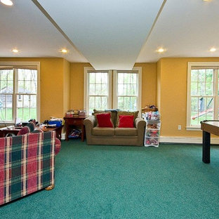 Basement - huge traditional walk-out carpeted and turquoise floor basement idea in Boston with yellow walls