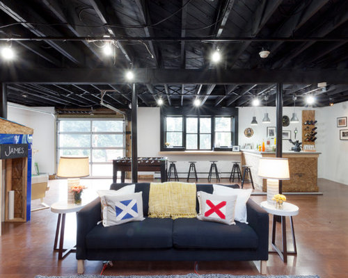 basement ideas with low ceilings. Example of an urban walk out brown floor basement design in New York with  white Low Basement Ceilings Houzz