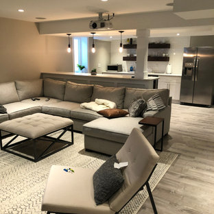 Photo of a mid-sized modern look-out basement in Philadelphia with grey walls, laminate floors and grey floor.