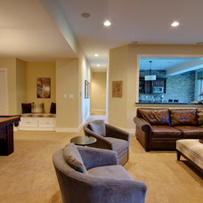 Traditional Basement by MB Designs, LLC