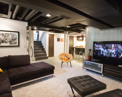 Basement Design Ideas finished basement ideas nice basement basement mancave basement someday house basement basement ceiling gameroom basement design basement remodeling Example Of An Urban Fully Buried Basement Design In Cincinnati With White Walls