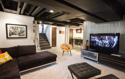 Below My Houzz: An Inviting Basement With Industrial Edge