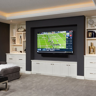 Inspiration for a mid-sized modern underground carpeted basement remodel in Minneapolis with gray walls