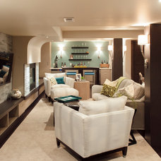 Contemporary Basement by TruDesign
