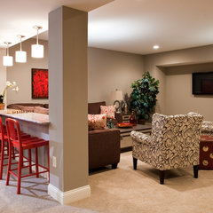 contemporary basement by Thomas & Jayne Interior Design