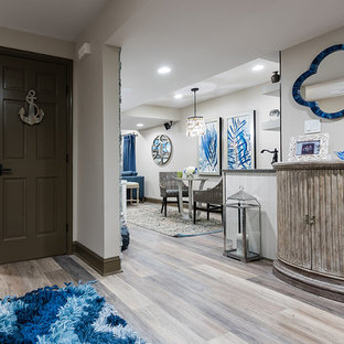 Example of a beach style basement design in Austin