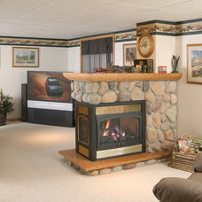 Eclectic Basement by CJ's Home Decor & Fireplaces