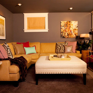 Inspiration for a small eclectic look-out carpeted basement remodel in Portland with gray walls and no fireplace