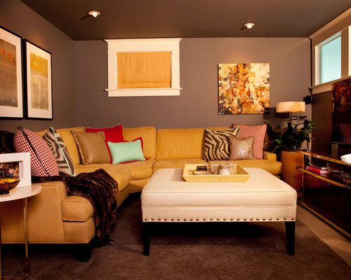 Inspiration For A Small Eclectic Look Out Carpeted Basement Remodel In Portland With Gray Walls