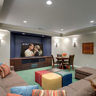 Basement - transitional underground carpeted and turquoise floor basement idea in Minneapolis with gray walls and no fireplace