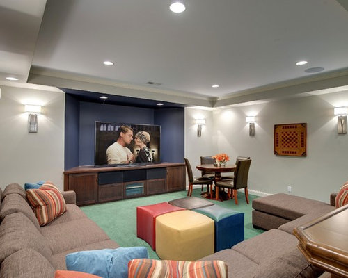 Transitional Underground Carpeted And Turquoise Floor Basement Idea In  Minneapolis With Gray Walls Part 89
