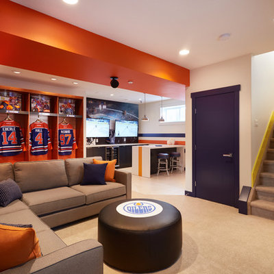 Example of a trendy look-out carpeted basement design in Edmonton with multicolored walls