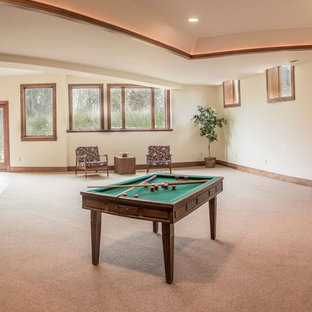 Basement - large modern walk-out carpeted and beige floor basement idea in Detroit with beige walls