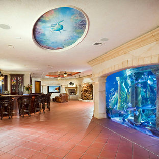 Entertainment Room with Aquarium Wall