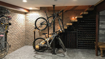 Entry with Wine Display Under the Stairs and Exposed Beam