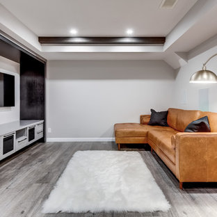 Small contemporary fully buried basement in Calgary with grey walls, vinyl flooring, no fireplace and grey floors.