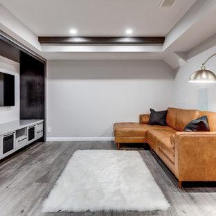 Cette photo montre un petit sous-sol tendance enterré avec un mur gris, un sol en vinyl, aucune cheminée et un sol gris.