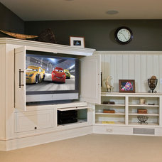 Traditional Home Theater by Teakwood Builders, Inc.
