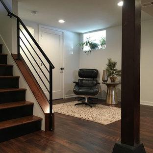 Réalisation d'un sous-sol minimaliste enterré et de taille moyenne avec un mur blanc, un sol en bois foncé, une cheminée standard, un manteau de cheminée en plâtre et un sol multicolore.