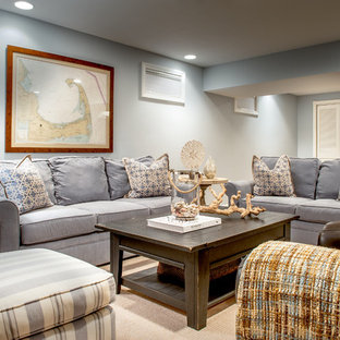 Mid-sized beach style underground carpeted and beige floor basement photo in Boston with gray walls and no fireplace