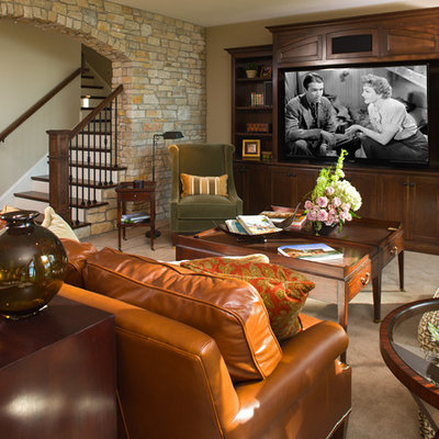 Elegant look-out carpeted and beige floor basement photo in Minneapolis with beige walls and no fireplace