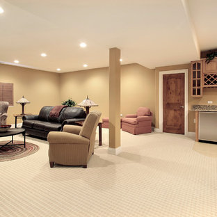 Inspiration for a large modern underground carpeted and beige floor basement remodel in Detroit with beige walls and no fireplace