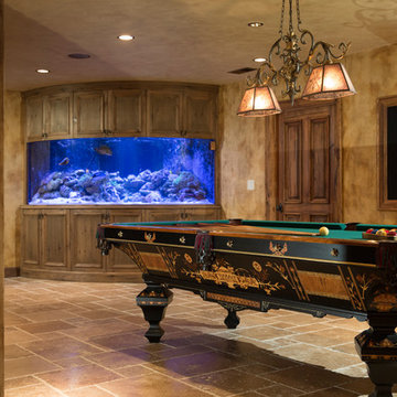 Finished Basement with Billiards and Custom Live Reef Fish Tank