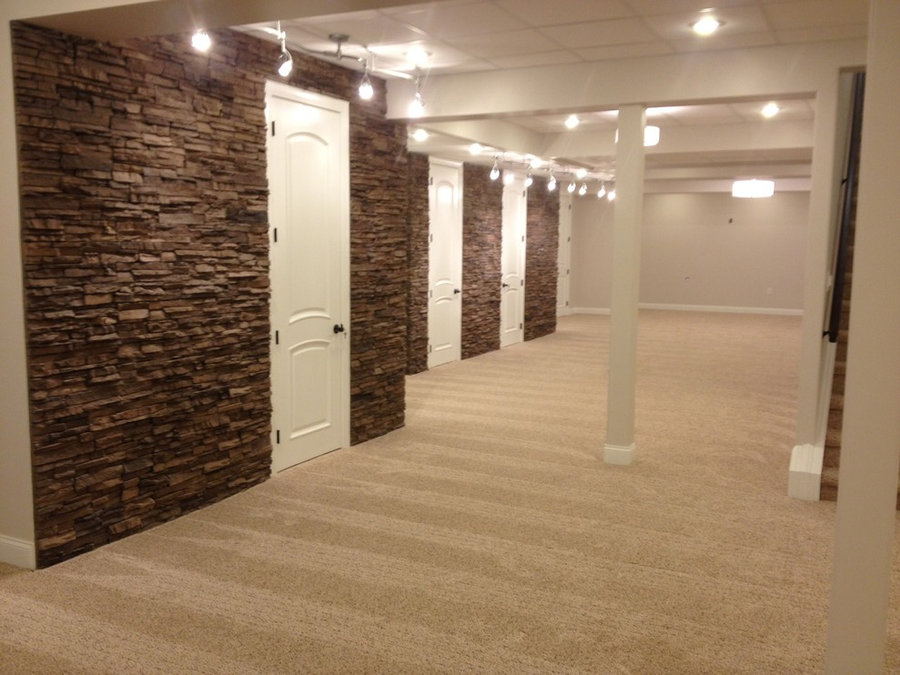 Finished basement with carpet