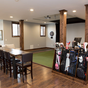 Finished Basement with Golf Simulator in Elgin
