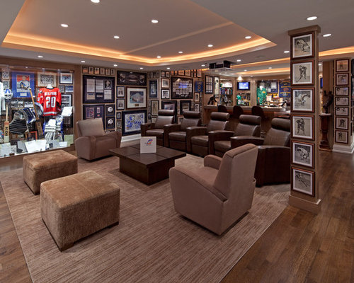 basement ideas man cave. Example of a classic home theater design in Toronto Small Basement Man Cave  Houzz