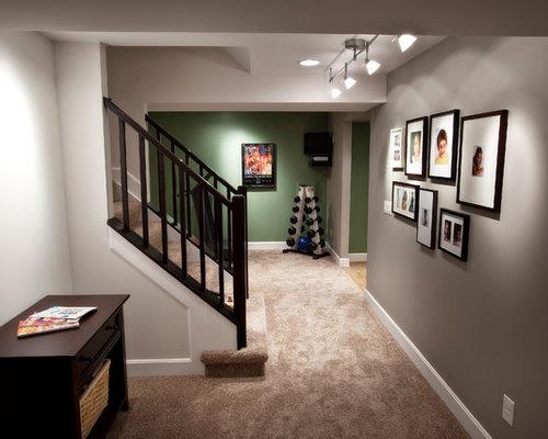 Contemporary Cincinnati Basement Design Ideas, Pictures