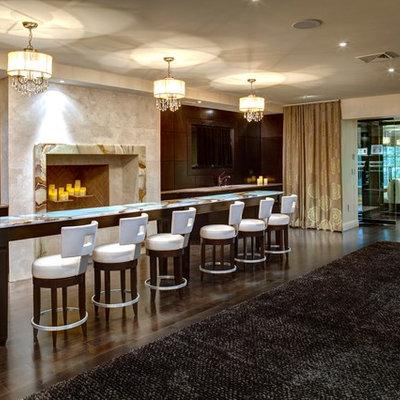 Example of a trendy dark wood floor and brown floor basement design in New York with brown walls