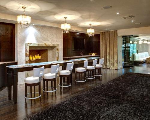 Example Of A Trendy Dark Wood Floor And Brown Floor Basement Design In New  York With