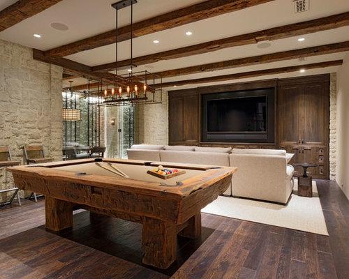 Example Of A Huge Classic Walk Out Dark Wood Floor And Brown Floor Basement  Design