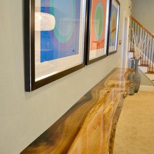 Cette image montre un grand sous-sol design donnant sur l'extérieur avec un mur bleu, moquette et un sol beige.